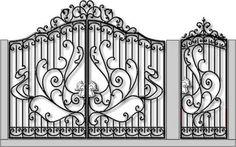 Кованые ворота и калитка Wrought Iron Gate Designs, Wrought Iron Fences, Door Gate Design, Railing Design, Front Gates, Entry Gates, Gates And Railings, Metal Gates, Iron Work