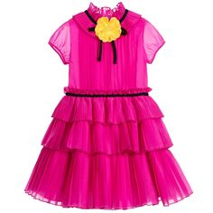 Gucci Pink Pleated Silk Dress & Yellow Flower Brooch at Childrensalon.com