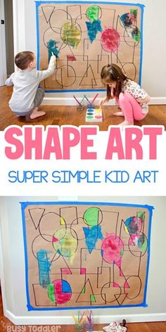 Shape Art Activity for Kids Looking for a quick and easy toddler / preschooler activity? Make this Shape Art activity from Busy Toddler. A super fun way to play with math and art. Art Activities For Toddlers, Preschool Learning Activities, Preschool Activities, Educational Activities, Shapes Toddlers, Art For Preschoolers, Art For Toddlers, Kids Shapes, Preschool Shapes