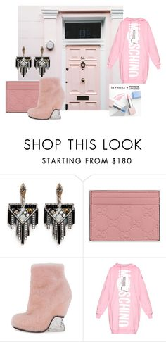 """""""Chill it, Pink it"""" by style-beyond-shopping ❤ liked on Polyvore featuring Sephora Collection, Lulu Frost, Gucci, Fendi, Moschino, women's clothing, women, female, woman and misses"""