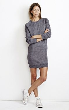 Minimal + classic: marc sweater dress charcoal white converse, outfits with converse, spring Dress With Converse, White Converse, Converse Outfits, Looks Style, Style Me, Mtv, Inspiration Mode, Sweatshirt Dress, Trends