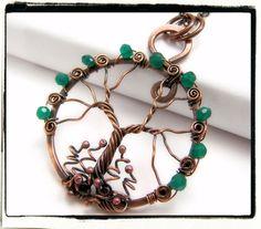 Antique Copper Faerie Green Onyx Gemstone Tree of Life Pendant