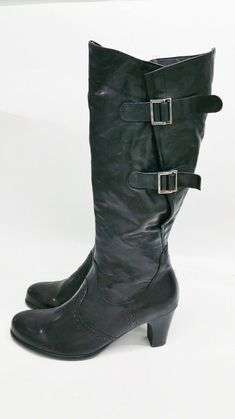 61833f23be66d NEW GABOR Black Wingtip Leather Knee High Boots Women's Sz 8.5 US Wide Calf  $220 #