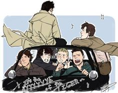 """""""It's the Eye of the Tiger it's the thrill of the fight..."""" Look how Sherlock just wants to strangle Dean!!"""