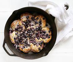Blueberry & Lemon Cinnamon Roll Breakfast Skillet @iambaker