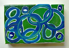 Original painting on canvas featuring an abstract composition, painted with watercolours, aniline watercolours, gauche and a touch of glitter. ....entanglement and interconnection; natures vitality and energy embodied by the colours and the dynamics of the interlocking shapes....  Signed and dated on the reverse.  Does not need framing, ready to go on the wall.  size 10 x 16 cm / 3.9 x 6.3 in