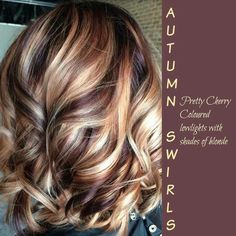 Pretty Cherry Colored lowlights with shades of Blonde