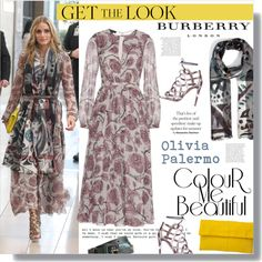 Burberry Dress and Scarf: Olivia Palermo by junglover on Polyvore featuring moda, Burberry, Primary and Aquazzura