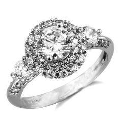 White Gold Round Cubic Zirconia Diamond Engagement Ring