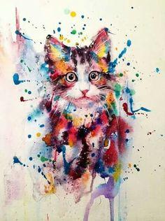 Art-art / drawing in gouache - cats. Cat - Art-art / drawing in gouache – cats. Watercolor Art Diy, Watercolor Pictures, Watercolor Art Paintings, Watercolor Animals, Animal Paintings, Painting & Drawing, Watercolour, Cat Drawing, Cat Tattoo