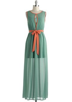 Age of Aquamarine Dress, #ModCloth   love the flowy fabric and the splash of orange!