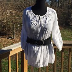 Nice Off White Top Cute Top that ties in the front with a Crochet Style upper Front and Upper Back!! 3 quarter sleeves that also tie can be Worn As Is or with a belt Ralph Lauren Tops Tunics