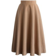 Chicwish Swing in Grace Woolen Full Skirt in Tan ($51) ❤ liked on Polyvore featuring skirts and brown