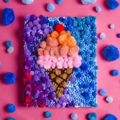 You've heard of color by number, paint by number, and Diamond Art -- now try pom-pom art! Fill in a simple design with multi-color pompoms to create a satisfying sensory craft that anyone can do. Craft Stick Crafts, Diy Crafts, Pom Pom Crafts, Flat Shapes, Diamond Art, Crochet Patterns For Beginners, Easter Crafts For Kids, Wonderful Things, Craft Stores