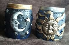 Hand made Polymer Clay Candle holders (recycled jars) filled with homemade Cinnamon candles