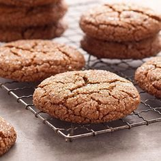 Giant Molasses Cookies Recipe -My family always requests these soft and deliciously chewy cookies. The cookies are also great for shipping as holiday gifts or to troops overseas. —Kristine Chayes, Smithtown, New York (crispy around edges/chewy) Fall Cookies, Spice Cookies, Yummy Cookies, Oatmeal Cookies, Christmas Cookies, Sugar Cookies, Giant Cookies, Pecan Cookies, Crinkle Cookies
