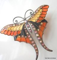 PLIQUE A JOUR long tail BUTTERFLY fashion PIN brooch Rhinestone sparkles  PK-2