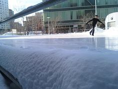 Ice skating outside in East Cambridge at the Kendall Square Community Ice Skating Rink. Grab your skates!