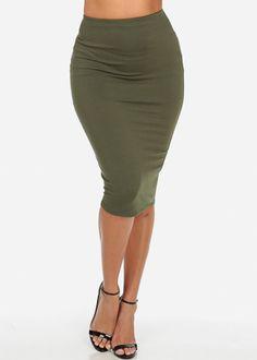 Knit High Waisted Midi Skirt (Green)