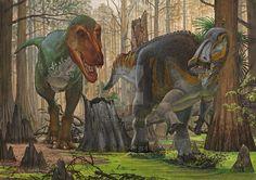 Edmontosaurus vs T-rex by atrox1.deviantart.com on @DeviantArt