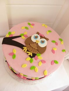 Owl cake - I think I can do this Baby Shower Cakes, Shower Baby, Torta Angel, Owl Cake Birthday, Pink Birthday, Owl Cakes, Cute Cakes, Fondant Cakes, Creative Cakes