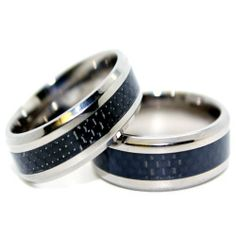 Blue Chip Unlimited - Matching 8mm Titanium Black Carbon Fiber Rings His & Hers Ring Set Wedding Bands Engagement Rings (Available in Whole & Half Sizes 5-16) Blue Chip Unlimited. $67.95. **PLEASE MESSAGE US WITH THE SIZES YOU NEED AFTER YOU COMPLETE THE TRANSACTION**. Comfort Fit Band. 8mm Titanium and Black Carbon Fiber Wedding Rings. Shape: Flat with beveled edges; Finish: High Polished. His & Hers Matching Set. Save 89%!