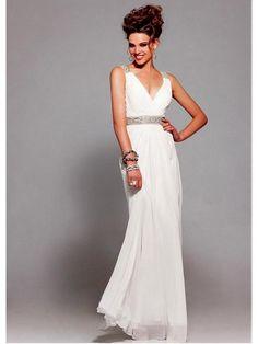 Alluring Chiffon A-line V-neck Neckline Floor-length Evening Dress
