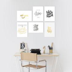 Pack de 6 cuadros combinados con frases minimalistas