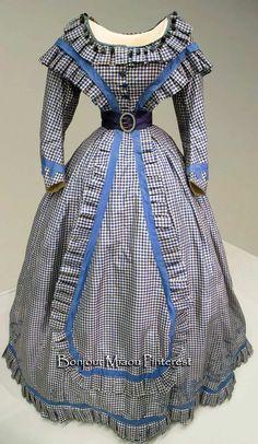 A gingham silk taffeta gown ca. 1865, with an 18-inch waistline. FIDM via Irenebrination