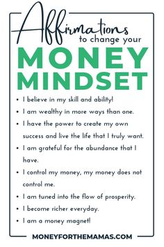 Positive money affirmations are key to changing your money mindset! Start thinking about how you deserve to earn more money, will spend it wiser, and can develop money management strategies to set you Money Tips, Money Saving Tips, Money Hacks, Money Budget, Managing Money, Earn More Money, How To Make Money, Manifesting Money, Thing 1