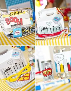 Variety of fun Superhero party ideas.... (shhhhh a secret..... we have a paper packet that is called SUPER HERO in the new idea book.  These will be awesome made with that paper)