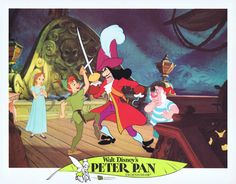 PETER PAN Vintage Lobby Card 5 1976r Disney Fighting Captain Hook