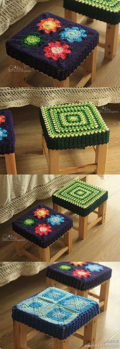 tudo bem com vocês ?' que tal começar o dia com esses lindos trabalhos de crochê. Crochet Squares, Crochet Granny, Crochet Motif, Crochet Designs, Crochet Patterns, Crochet Decoration, Crochet Home Decor, Yarn Crafts, Diy And Crafts