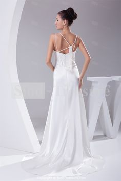 Church Mermaid/ Trumpet V-neck Spring/ Fall Beading Silk-like Satin Wedding Dresses