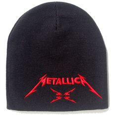 Official Metallica Beanie Hat in Black featuring the classic logo embroidered in red on the front and M4 design embroidered on the back Officially