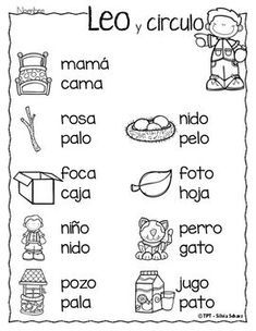 Puedo leer palabras - Leo y circulo by Silvia Schavz Bilingual Centers, Bilingual Classroom, Bilingual Education, Spanish Classroom, Preschool Spanish, Spanish Lessons For Kids, Elementary Spanish, Elementary Schools, Learn Spanish