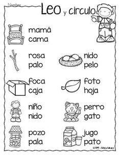 Puedo leer palabras - Leo y circulo by Silvia Schavz Bilingual Classroom, Bilingual Education, Spanish Classroom, Spanish Lessons For Kids, Preschool Spanish, Learn Spanish, Spanish Language Learning, Teaching Spanish, School Worksheets