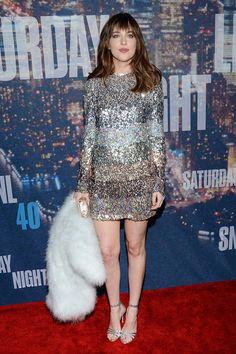 Dakota Johnson, con vestido de Sonia Rykiel y sandalias de Gianvito Rossi