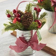 Holly and Pinecone in Metal Can Christmas Arrangement Holly and Evergreen stems in a metal can. Blue Christmas Decor, Unique Christmas Trees, Christmas Door, Outdoor Christmas, Christmas Balls, Rustic Christmas, Beautiful Christmas, Christmas Tree Ornaments, Christmas Wreaths