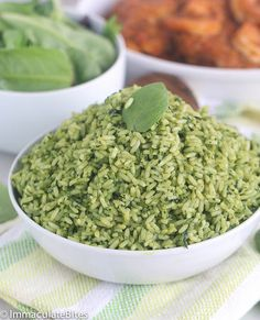 Green Rice- used spinach blended with coconut milk and a little chicken stock poured over jasmine rice with chopped green onion. Tony liked it