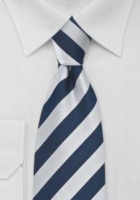 Preppy Striped Tie Navy and Silver