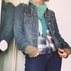 I made my clothes. Except for my jean jacket - who made that @gap?  I have been slowly making more and more of our clothes - mine and Bea's. I wear something handmade - sewn or knitted - everyday. Today I am wearing a @grainlinestudio #archerbuttonup, #gingerjeans by #closetcasefiles, and #watsonbra and #watsonbikini under all that. I knit my arm warmers a few years ago, and my scarf from lovely yarn the lovelier @mikoschechter. Oh! And my socks were knit from yarn she gave me too - lovely…
