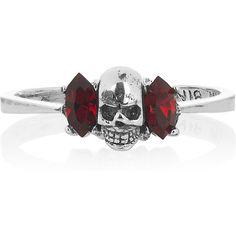 Tom Binns Momento Mori silver-plated Swarovski crystal skull ring ($75) ❤ liked on Polyvore