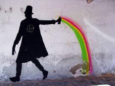 Kenny Random rainbow #Graffiti #Street Art Urban Street Art, Best Street Art, Amazing Street Art, Urban Art, Banksy, Landscape Drawings, Street Art Graffiti, Chalk Art, Street Artists