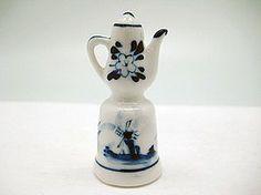 "Amazon.com: Collectible Thimble Blue and White Teapot (2""): Home & Kitchen"