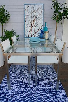 Avalon  Glass Table and Chair Outdoor Setting -   Small Balcony Furniture    .  Perfect for a balcony, patio,  terrace or courtyard. Available from Petite Retreat Outdoor Furniture Sydney, Australia