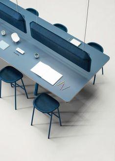 modular furniture Big 95 Modular Table System Designed by De Vorm - I definitely wouldnt mind working on this modern blue community office table. Pet Furniture, Modular Furniture, Plywood Furniture, Home Office Furniture, Furniture Design, Table Furniture, Furniture Ideas, Commercial Office Furniture, Refurbished Furniture