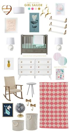 Girl Sailor Nursery Design board