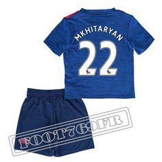 Personnalise Maillot De Mkhitaryan 22 Manchester United Enfant Bleu 2016 17 Exterieur : Premier League