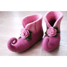 Fairy shoes felted home slippers in green/ orange with rose can be... ($82) ❤ liked on Polyvore featuring shoes and slippers